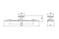 Ручка-кнопка d. 30 мм с накладкой 37х192 мм